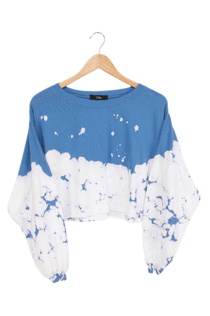 Blue Tie-Dye Top - Long Sleeve Tee - Cropped Long Sleeve Tee - Lulus