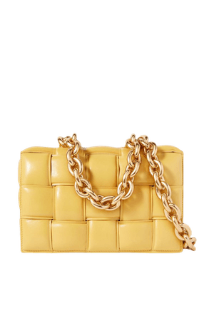 Yellow Cassette chain-embellished padded intrecciato leather shoulder bag | Bottega Veneta | NET-A-PORTER