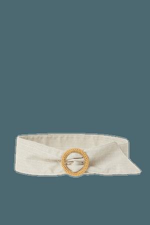 Wide Waist Belt - White