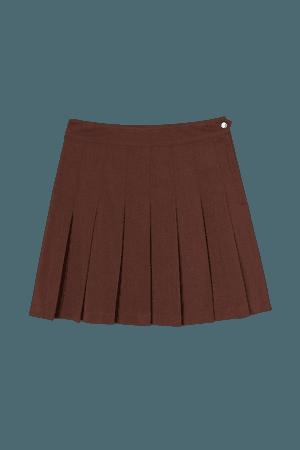 Short Pleated Skirt - Brown - Ladies   H&M US