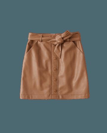 Women's Vegan Leather Belted Mini Skirt | Women's New Arrivals | Abercrombie.com