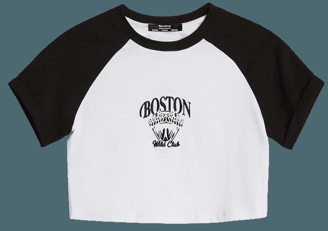 Contrast neckline T-shirt - Tees and tops - Woman | Bershka