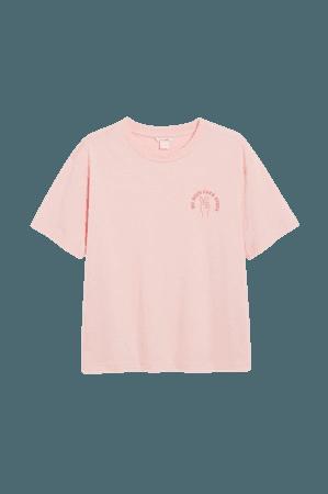 Cotton tee - Light pink - T-shirts - Monki WW