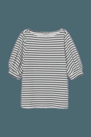 Crêped Jersey Top - White/black striped - Ladies | H&M US