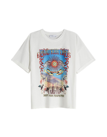 Short sleeve T-shirt with print - Tees and tops - Woman   Bershka