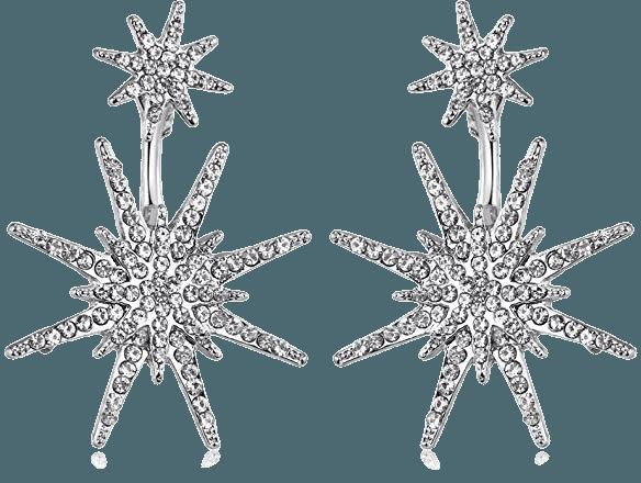 Amazon.com: Silver Star Stud Unique Dangling Earrings for Women Fashion Wedding Ear Jacket Christmas Jewelry: Jewelry