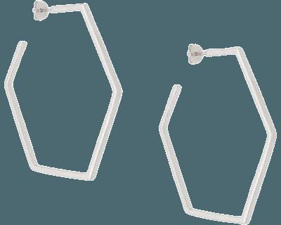 Silver Rachel Jackson hexagonal hoop earrings - Farfetch