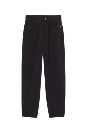 Ankle-length Twill Pants - Black