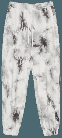 Sweatpants with a tie-dye print - Pants - Woman   Bershka