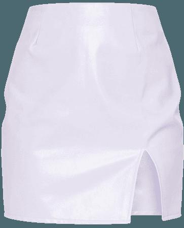 Lilac Faux Leather Split Hem Mini Skirt | PrettyLittleThing USA