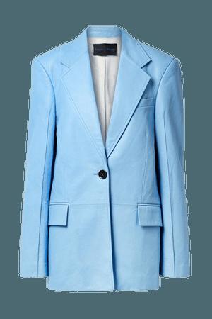 Leather Blazer - Light blue