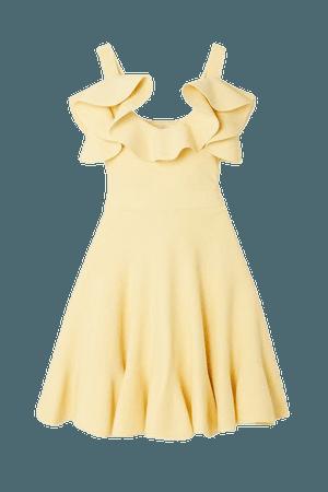 Cold-shoulder Ruffled Stretch-knit Mini Dress - Ivory