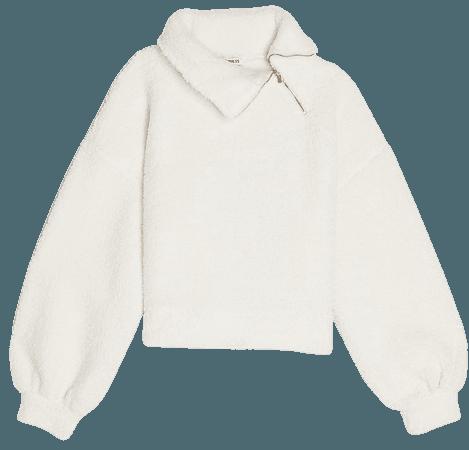 Cozy Asymmetrical Zip Sherpa Sweatshirt   Express
