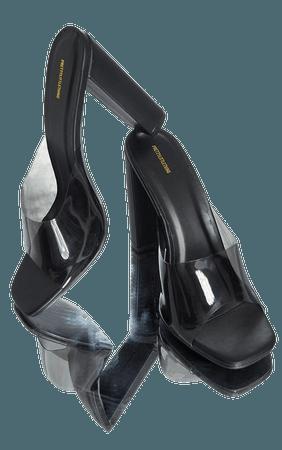 Black Clear Strap High Block Heel Mules | PrettyLittleThing USA