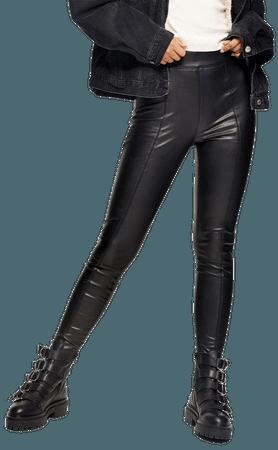 Black Straight Leg Faux Leather Leggings