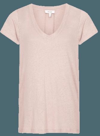 Lottie Pink Linen-Jersey V-Neck T-Shirt – REISS