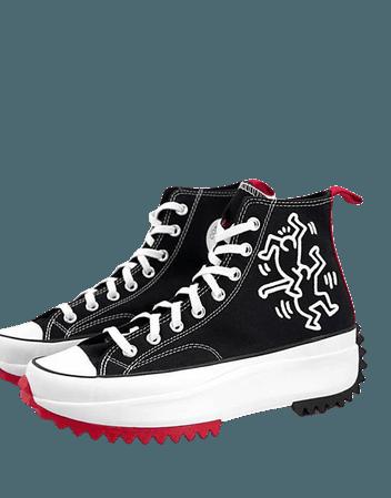 Converse x Keith Haring Run Star Hike sneakers in black | ASOS