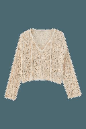 Open knit crochet sweater - pull&bear