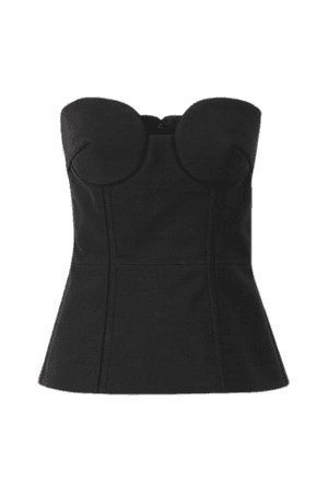 Wool And Silk-blend Bustier Top - Black
