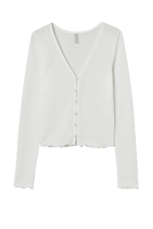 Waffle-knit Cardigan - White - Ladies   H&M US