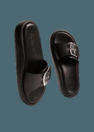 Buckle leather sandals - Women | Mango USA