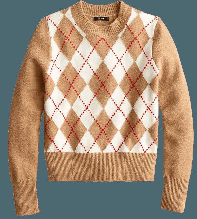 J.Crew: Argyle Cropped Crewneck Sweater For Women