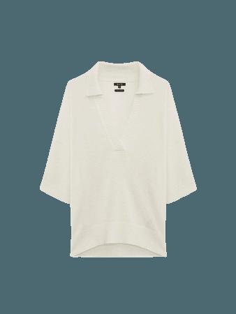 Polo collar knit sweater - Women - Massimo Dutti