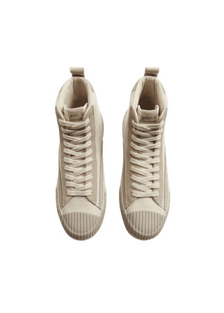 Lace-up leather sneakers - Women | Mango USA