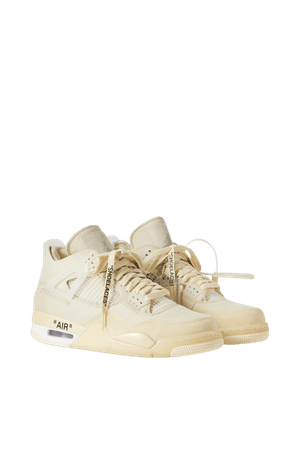 Beige + Off-White Air Jordan 4 high suede-trimmed tech-canvas mesh and rubber sneakers | Nike | NET-A-PORTER