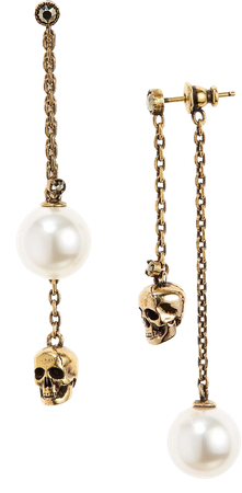 Pearly Skull Mismatched Front/Back Earrings