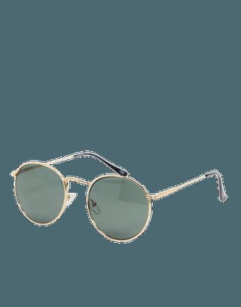Круглые солнцезащитные очки с золотистой металлической оправой и затемненными стеклами ASOS DESIGN | ASOS