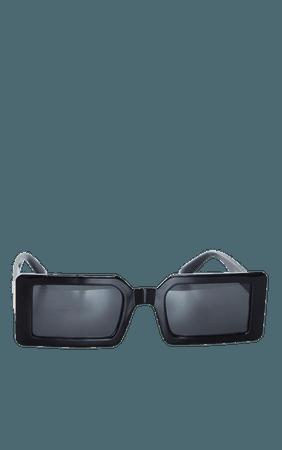 Black Squareframe Slimline Sunglasses   PrettyLittleThing USA