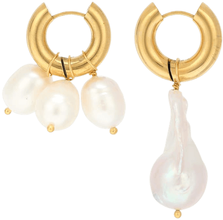 Timeless Pearly - 24kt gold-plated hoop earrings with pearls | Mytheresa