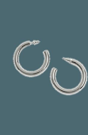 Silver Smooth Hoop Earrings   Miss Selfridge