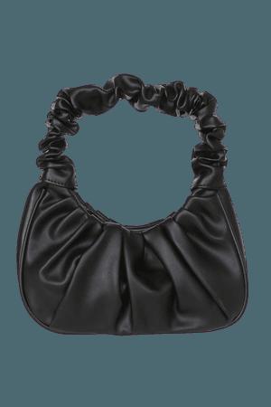 Black Ruched Bag - Shoulder Bag - Vegan Leather Mini Bag - Lulus