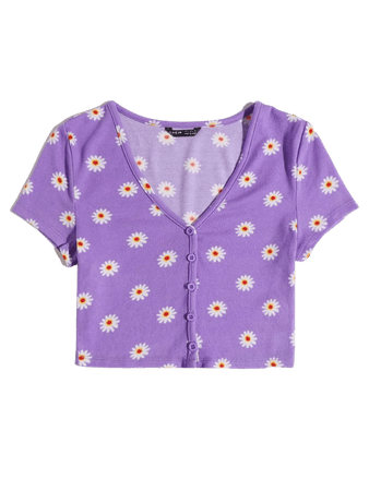 Buttoned Front Floral Crop Tee | SHEIN USA