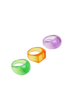 3-pack of neon colored resin rings - pull&bear