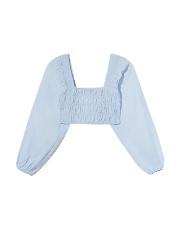 Blouse with square-cut gathered neckline - Shirts and blouses - Woman | Bershka
