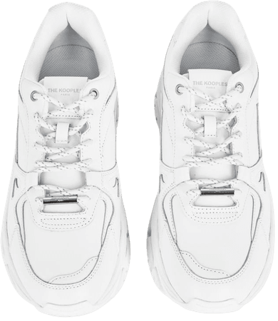 White leather platform sneakers | The Kooples