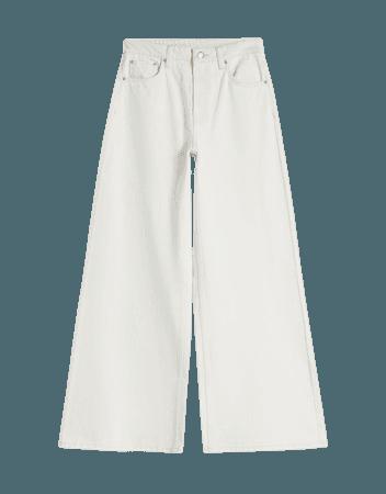 Contrast '70s wide-leg twill pants - Pants - Woman | Bershka