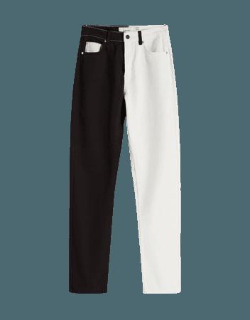 Two-tone straight-leg twill pants - Pants - Woman | Bershka