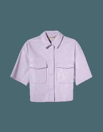 Short faux leather overshirt - Outerwear - Woman   Bershka