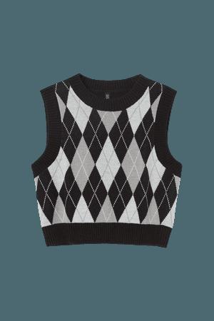 Crop Sweater Vest - Black/harlequin-patterned - Ladies | H&M US