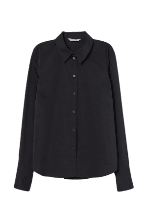 Cotton-blend Shirt - Black