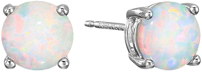 Amazon Essentials Sterling Silver Round Created Opal Birthstone Stud Earrings