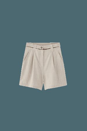 Rustic pinstriped Bermuda shorts - pull&bear