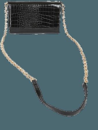 Black Clutch - Crocodile-Embossed Clutch - Wallet Clutch - Lulus