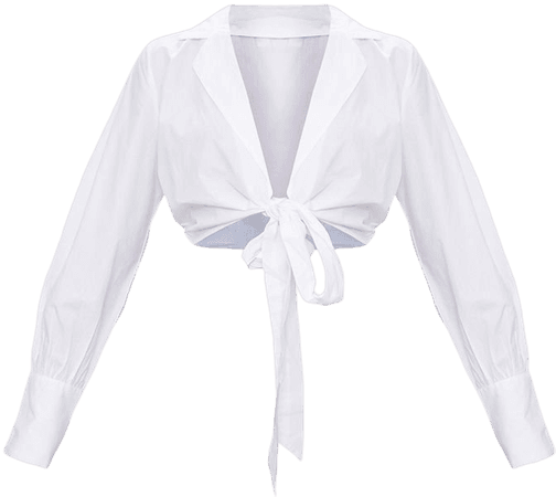 White Front Tie Shirt