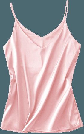 Miqieer Basic Women's Silk Tank Top Ladies V-Neck Camisole Silky Loose Sleeveless Blouse Satin Tank Shirt at Amazon Women's Clothing store