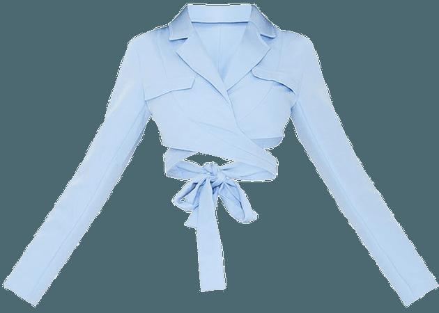 Stone Woven Wrap Waist Long Sleeve Crop Shirt | PrettyLittleThing USA